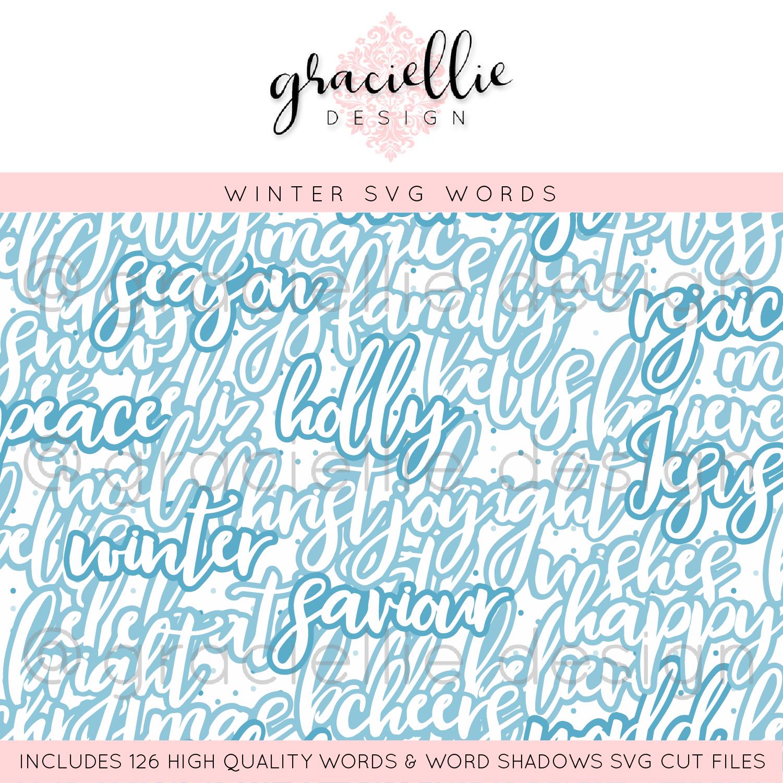 Winter Words Shadows Svg Bundle Shop Gracielliedesign Com
